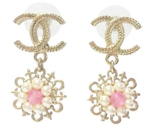 Chanel Chanel Light Gold CC Pearl Pink Stone Cruise Dangle Piercing Earrings