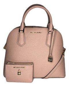 Michael Kors Matching Set Adele Large Dome Leather Bifold Wallet Pink Shoulder Bag