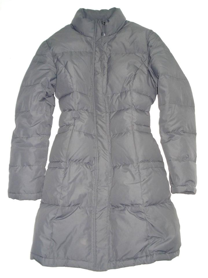 0de0632cf3d51 Garnet Hill Gray Quilted Goose Down Winter Long Jacket Puffer Coat ...