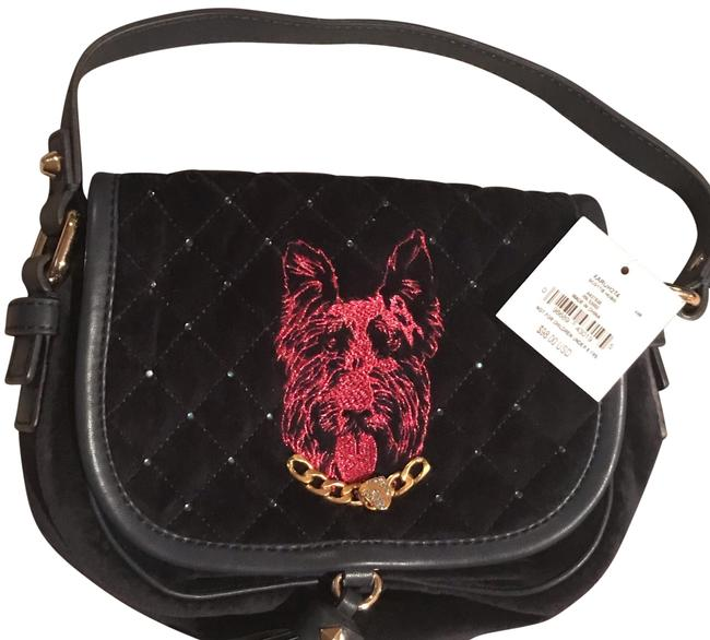 Item - W Magenta Shiny Embossed Dog W/ Chain Logo Encrusted Stones Navy Blue Crystals & Gold Trim Velour/Leather - Cotton Liner Hobo Bag