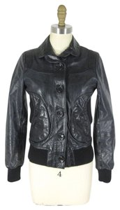 DOMA Bomber Lined black Leather Jacket