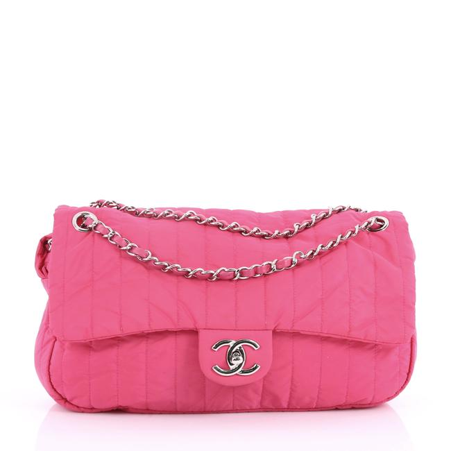 Item - Classic Flap Soft Shell Vertical Quilted Jumbo Pink Nylon Shoulder Bag