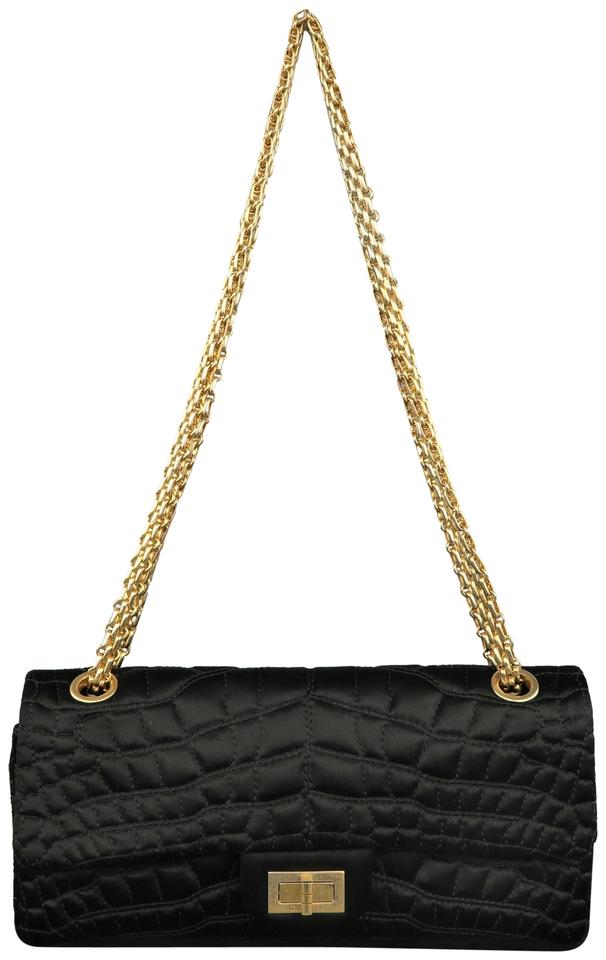 18952d69a4e3 Chanel 2.55 Reissue Alligator Quilted Gold Chain Black Silk Shoulder ...
