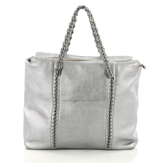648d096c36d0 Chanel Luxe Ligne Zip Top Calfskin Large Silver Leather Tote - Tradesy