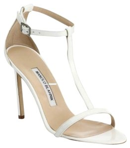 Manolo Blahnik Wedding Holiday Elegant Timeless White Sandals