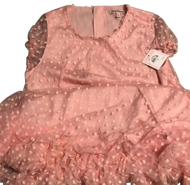 Item - Lighter Pink/Peach Sheer Dotted Tulle Short Night Out Dress Size 14 (L)