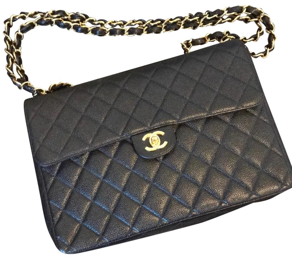 576a29f805358f Chanel Classic Flap Jumbo Single Black Caviar Leather Shoulder Bag ...