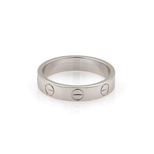 Cartier Mini Love 18k White Gold 3.5mm Band Ring Size 48 w/Certificate Image 3