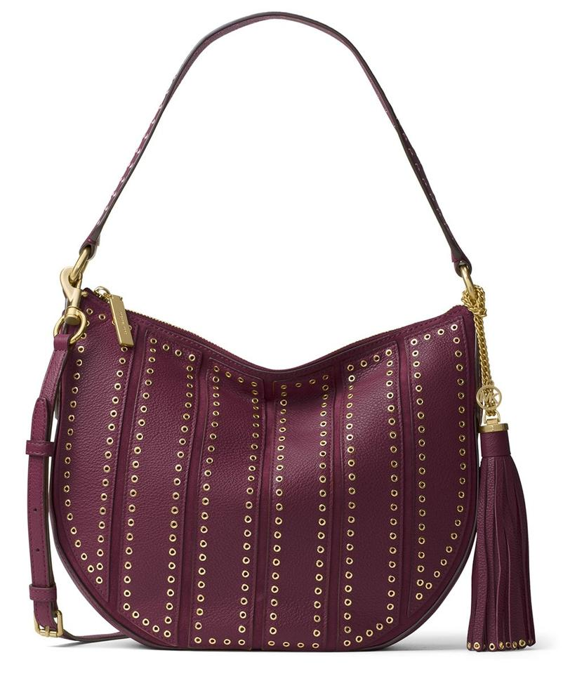 Michael Kors Brooklyn Hobo Grommet Applique Medium Convertible Plum Leather Shoulder Bag 36% off retail