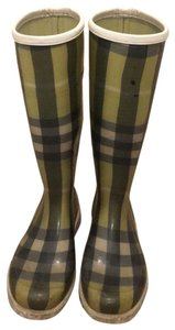 Burberry Rain Plaid Green Boots