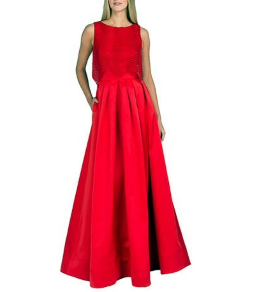 034602794f61 Badgley Mischka Red Wave Lace Popover Ball Gown Long Formal Dress ...