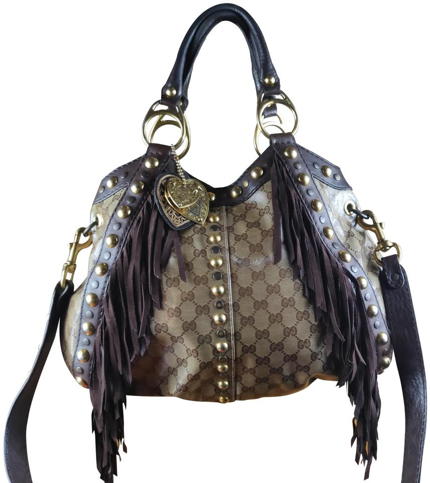 83f626629a8 Gucci Babouska Fringe Large Brown Coated Monogram Canvas Hobo Bag ...