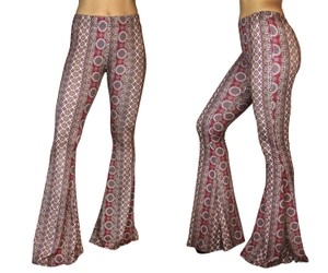 Daisy Del Sol Leggings Hippie Stretch Flare Pants Burgundy & Beige