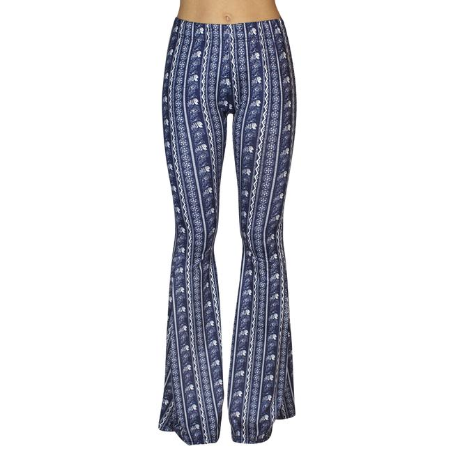 Daisy Del Sol Bell Leggings Hippie Stretch Bell Flare Pants Navy & White Image 1