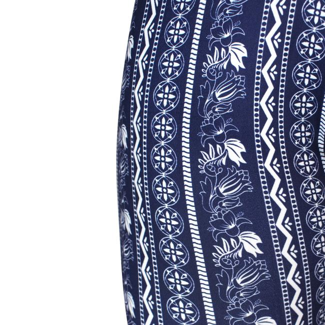 Daisy Del Sol Bell Leggings Hippie Stretch Bell Flare Pants Navy & White Image 10