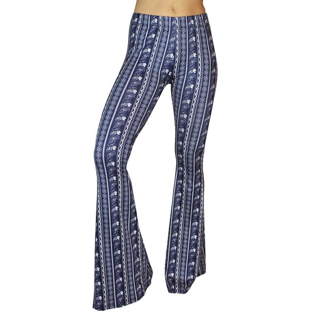 Daisy Del Sol Bell Leggings Hippie Stretch Bell Flare Pants Navy & White Image 2