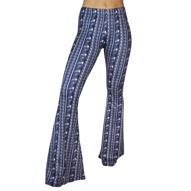 Daisy Del Sol Bell Leggings Hippie Stretch Bell Flare Pants Navy & White Image 3