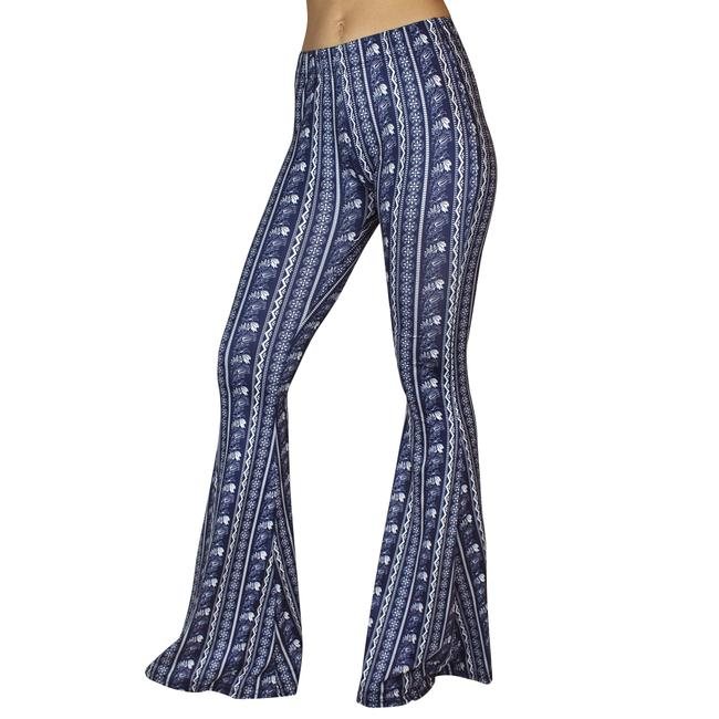 Daisy Del Sol Bell Leggings Hippie Stretch Bell Flare Pants Navy & White Image 4