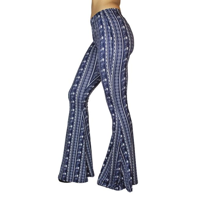 Daisy Del Sol Bell Leggings Hippie Stretch Bell Flare Pants Navy & White Image 5