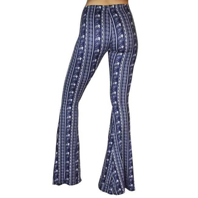 Daisy Del Sol Bell Leggings Hippie Stretch Bell Flare Pants Navy & White Image 7