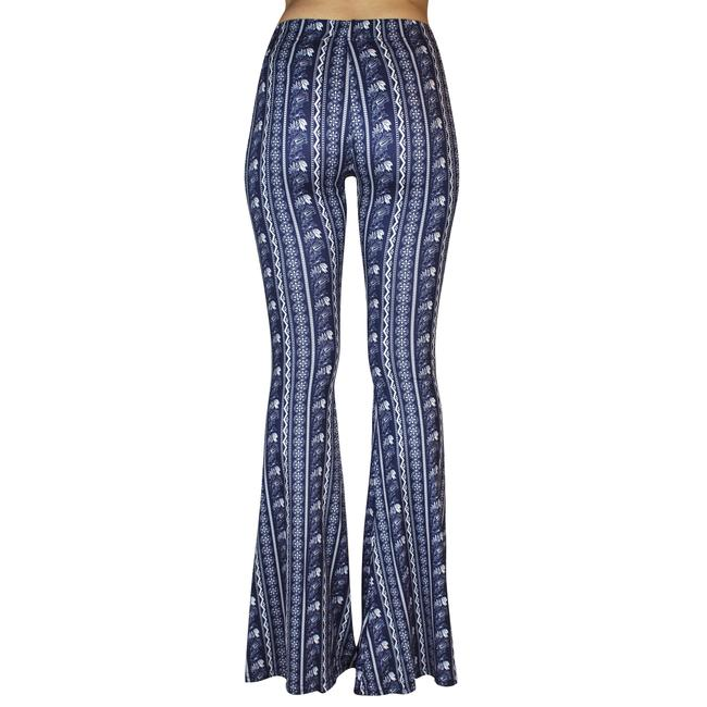 Daisy Del Sol Bell Leggings Hippie Stretch Bell Flare Pants Navy & White Image 8