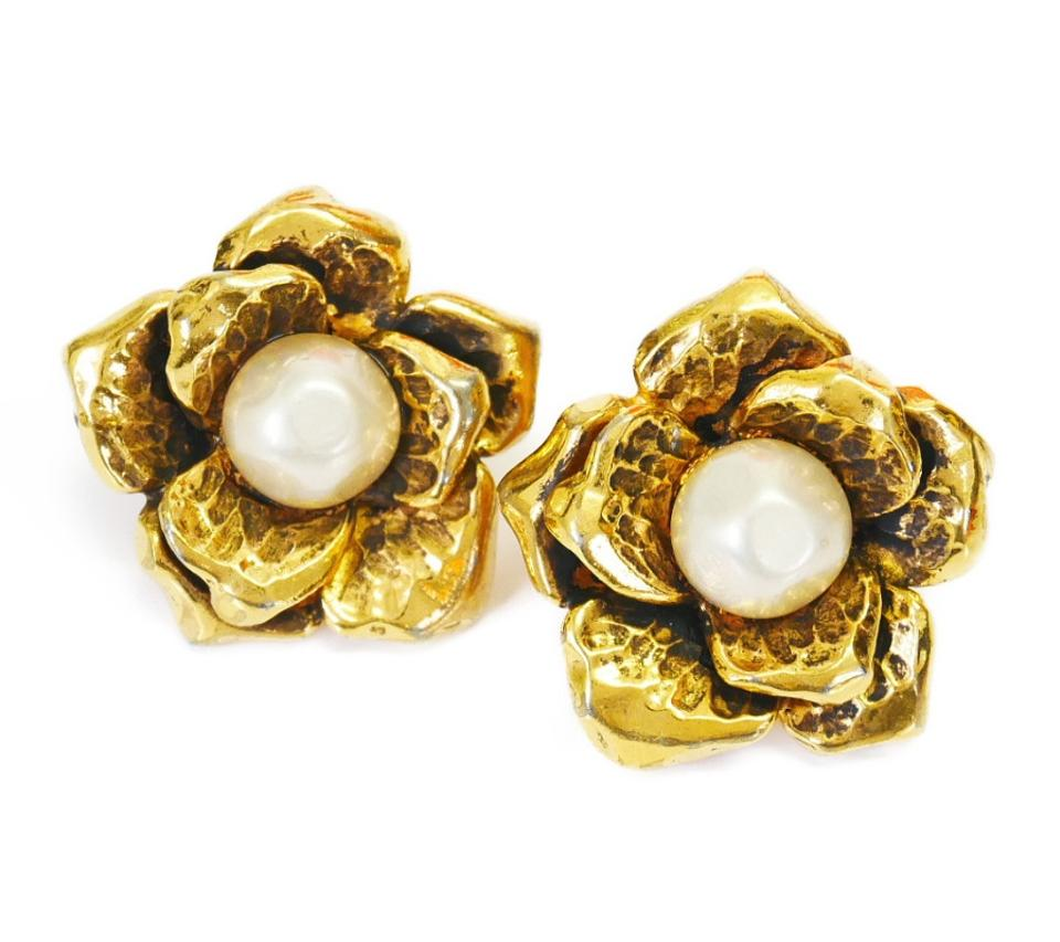 Chanel Rare Vintage Faux Pearl Earrings