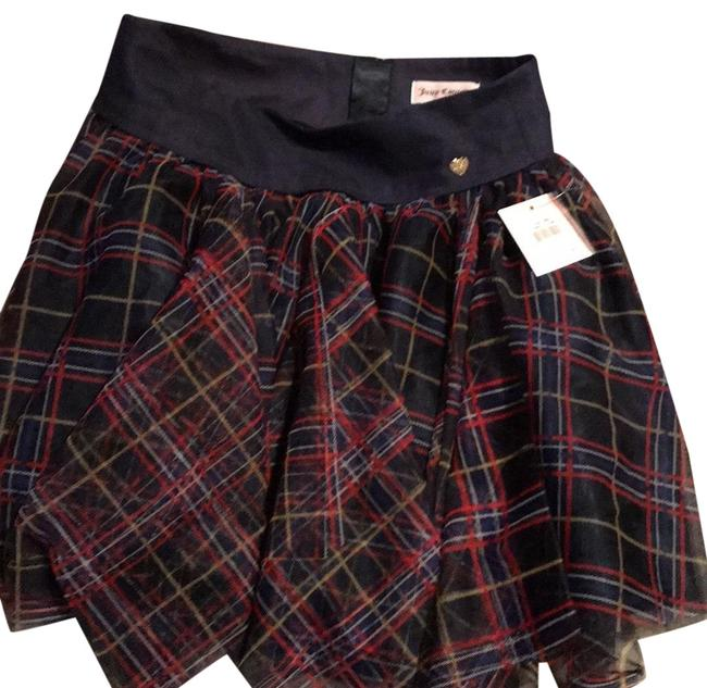 Item - Navy W/ Red Yellow White Check Printed Tulle Skirt Size 12 (L, 32, 33)