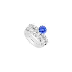 DesignerByVeronica 925 Sterling Silver Created Tanzanite and Cubic Zirconia Engagement Ri