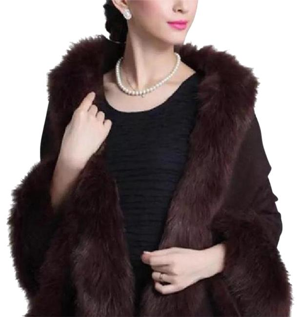 New Shawl Brown Poncho Sweater Luxury Soft Faux Animal Fur Brown Luxury Vest Wrap Scarf Cape Image 0