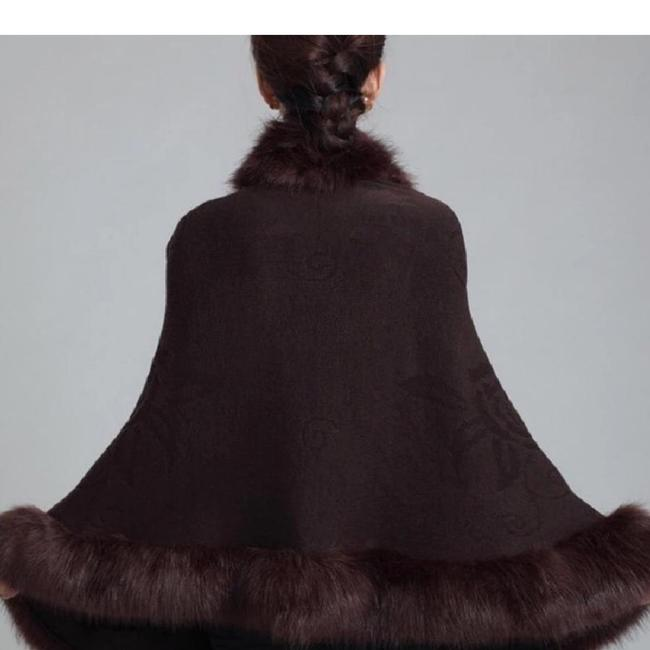 New Shawl Brown Poncho Sweater Luxury Soft Faux Animal Fur Brown Luxury Vest Wrap Scarf Cape Image 1