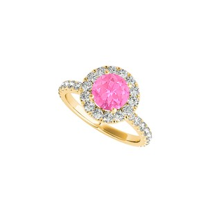 DesignerByVeronica CZ Pink Sapphire Halo Ring in 18K Yellow Gold Vermeil