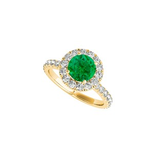 DesignerByVeronica Yellow Gold Vermeil Halo Ring with Emerald and CZ