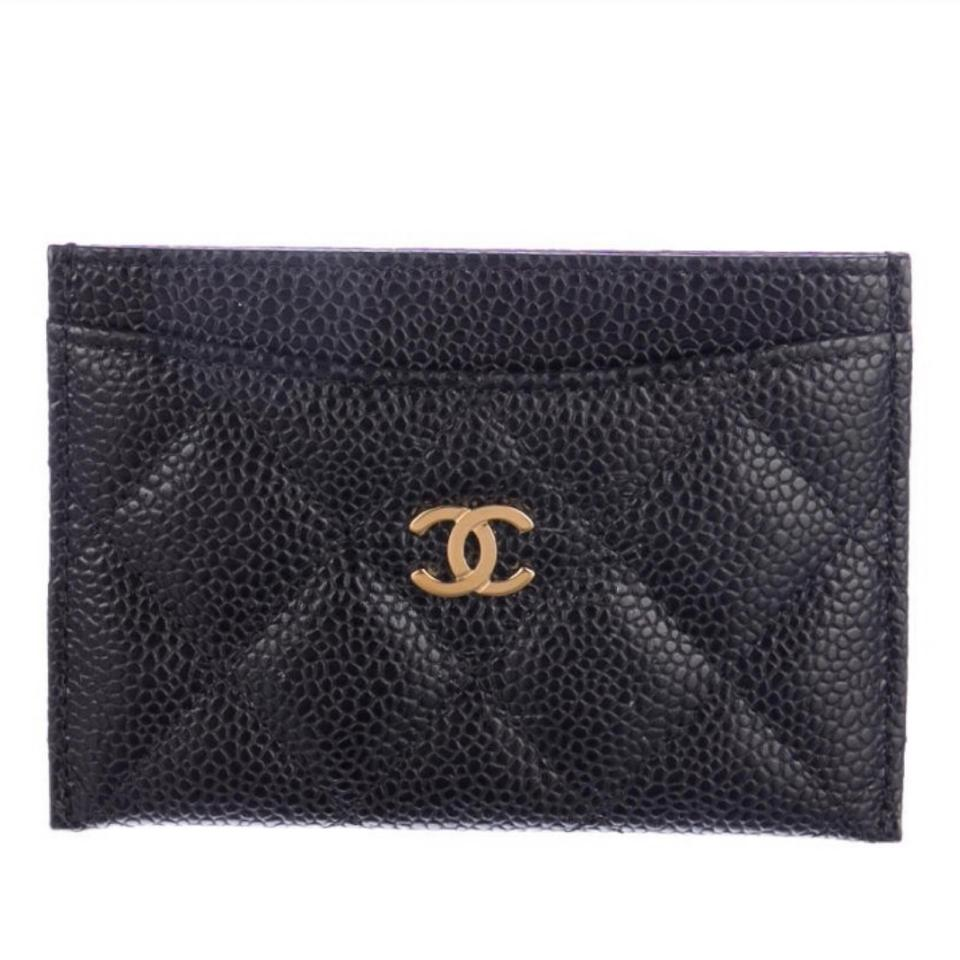8a9b4b66 Chanel Black Classic Cardholder In Caviar and Gold Hardware Wallet