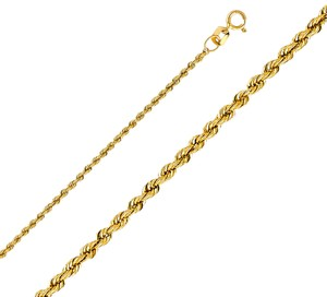 Top Gold & Diamond Jewelry 14k Yellow Gold 1.5 mm Hollow Rope Regular Chain - 22