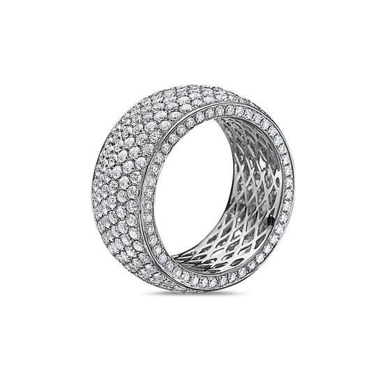 OMI Jewelry Men's 14K White Gold Eternity Band with 6.50 CT Diamonds Image 1