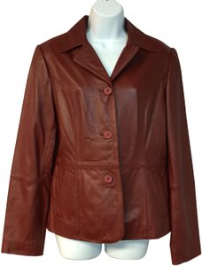 Frenchi Carmine Red Leather Jacket