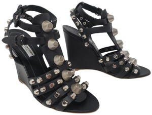 Balenciaga Silver Hardware Cage Arena Studded Ankle Strap Black Wedges