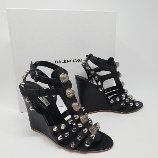 Balenciaga Silver Hardware Cage Arena Studded Ankle Strap Black Wedges Image 1