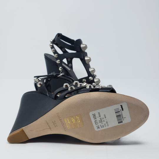 Balenciaga Silver Hardware Cage Arena Studded Ankle Strap Black Wedges Image 10