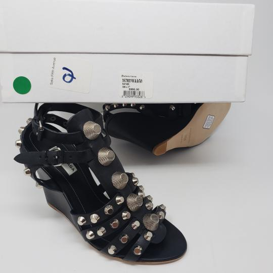 Balenciaga Silver Hardware Cage Arena Studded Ankle Strap Black Wedges Image 2