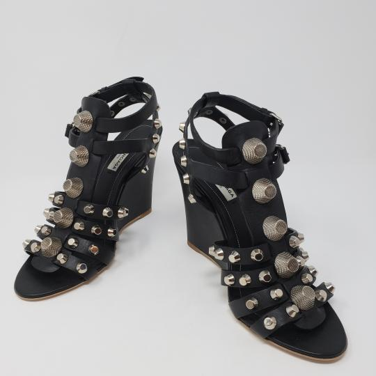 Balenciaga Silver Hardware Cage Arena Studded Ankle Strap Black Wedges Image 3
