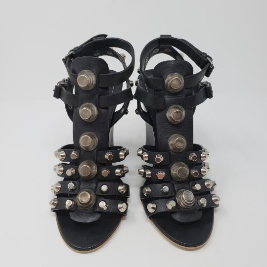 Balenciaga Silver Hardware Cage Arena Studded Ankle Strap Black Wedges Image 4