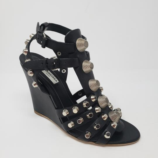 Balenciaga Silver Hardware Cage Arena Studded Ankle Strap Black Wedges Image 6