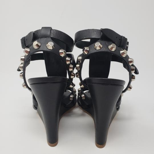 Balenciaga Silver Hardware Cage Arena Studded Ankle Strap Black Wedges Image 7