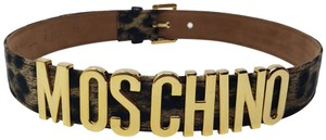 Moschino Black brown satin Moschino letter logo belt