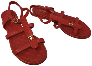 41b5d2f76258 Chanel Interlocking Cc Ankle Strap Silver Hardware Gold Hardware Crystal  Red Sandals