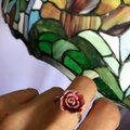 TheresaLuxury 18K White Gold Rose Ring Sz 8 Image 2