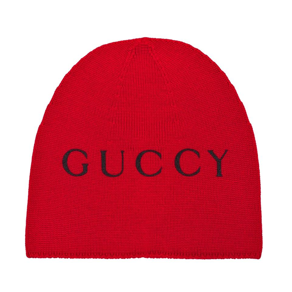 5d670ba74ed Gucci Red Beanie with Cat Print Size M Hat - Tradesy