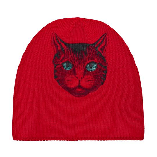 Gucci Gucci Beanie With Cat Print Size M