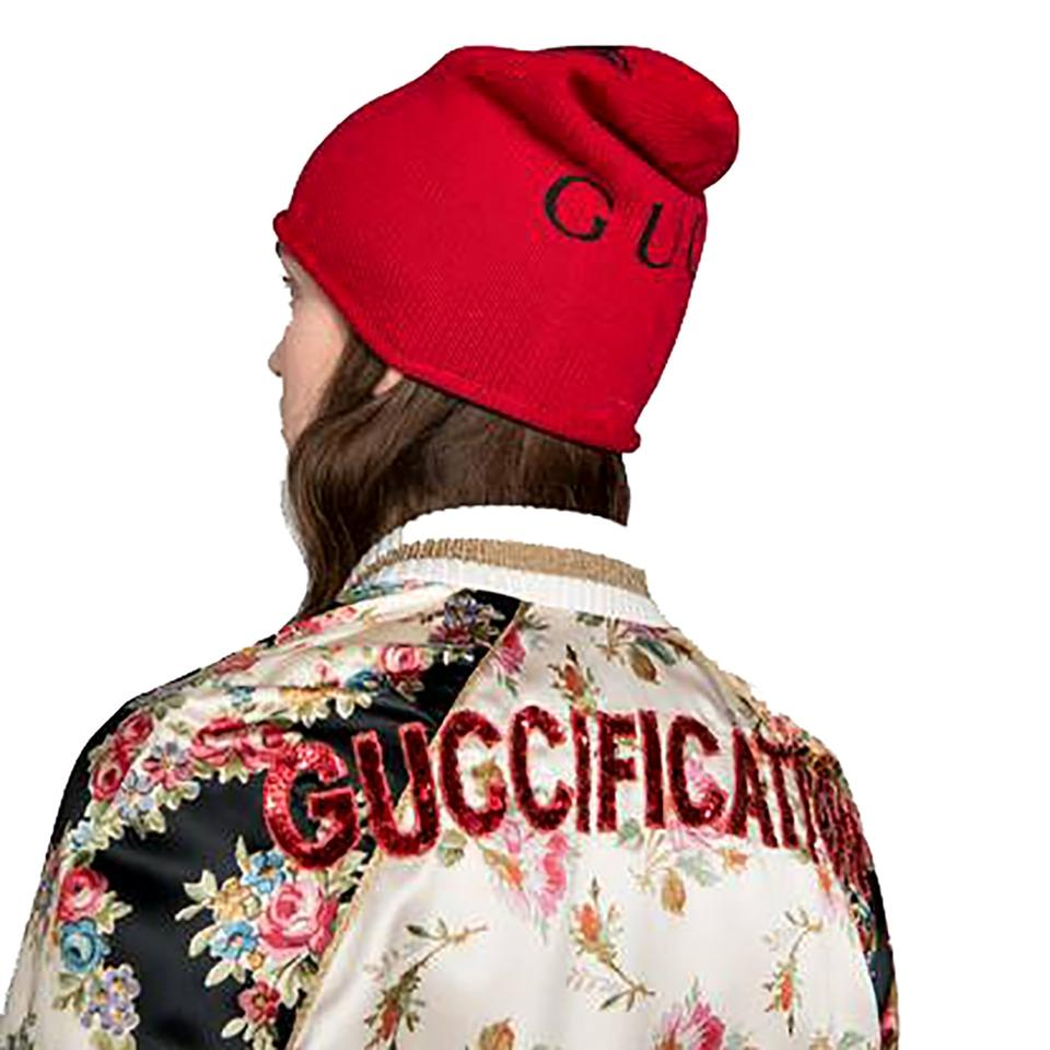 81a13fcc205a0 Gucci Red Beanie with Cat Print Size M Hat - Tradesy